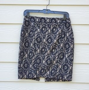 Express Black and Nude Lace Pencil Skirt
